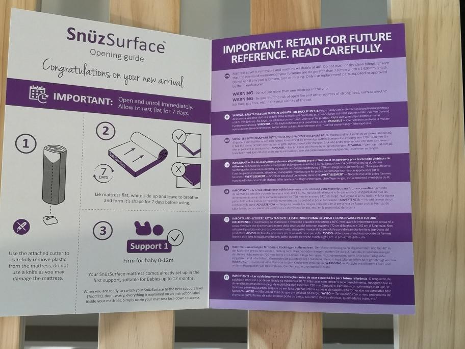 Snuzsurface instructions - open mattress immediately